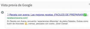 como ve google a recetaconavena.com